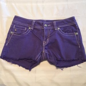 Miss Me Jeans size 29 purple shorts with crosses